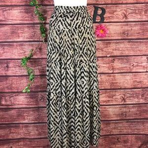 Ann Taylor Loft Skirt 6 Brown Tan Long Maxi Tiered